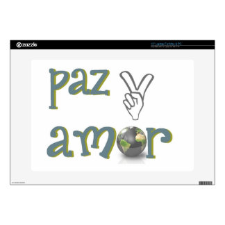 """paz y amor decal for 15"""" laptop"""