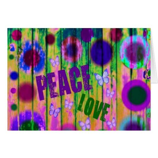 Paz y amor tarjeta de felicitación