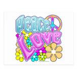Paz y amor tarjetas postales