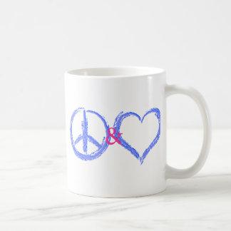 Paz y amor taza básica blanca