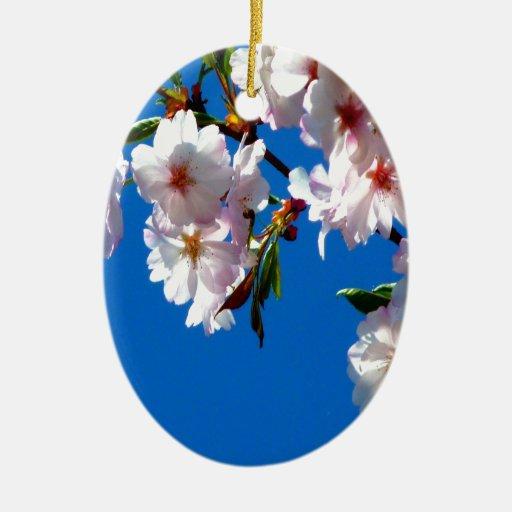paz y belleza japonesas de la cereza adorno ovalado de cerámica