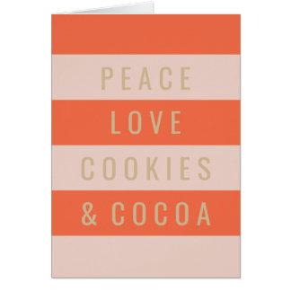 Paz y cacao tarjeta de felicitación