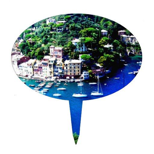 paz y calma de la montaña de los barcos de Italia Figura De Tarta
