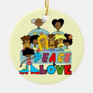 Paz y camisetas y regalos del amor ornamentos de reyes