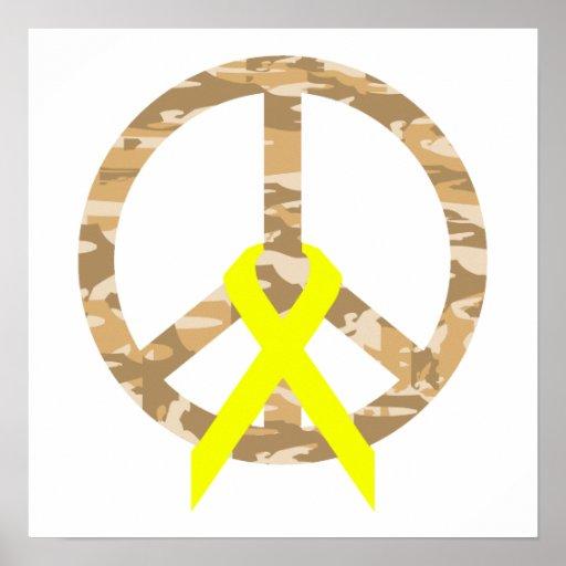 Paz y cinta de Camo del desierto Posters