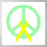 Paz y cinta del verde de mar impresiones