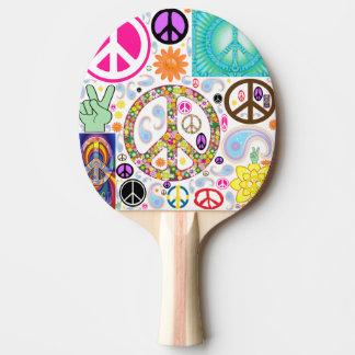Paz y collage de Paisley Pala De Tenis De Mesa
