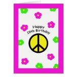 Paz y diecinueveavo tarjeta de cumpleaños de las f