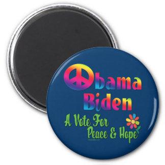 Paz y esperanza 2008 de Obama Biden Imán De Frigorifico