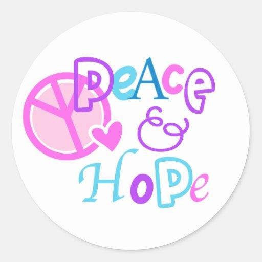 paz y esperanza pegatina redonda