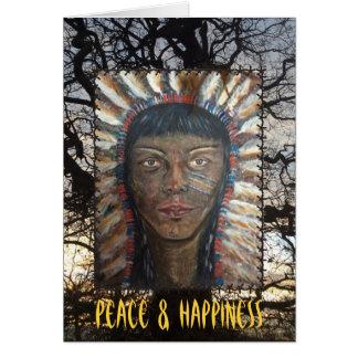 Paz y felicidad tarjeta de felicitación