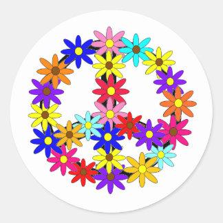 Paz y flower power etiqueta redonda