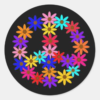 Paz y flower power etiquetas redondas