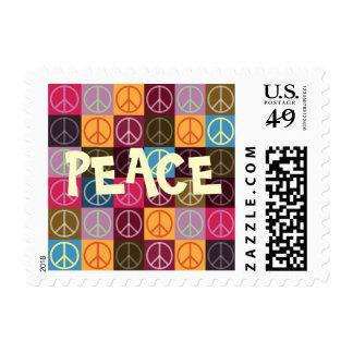 Paz y flower power sellos