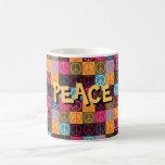 Paz y flower power taza de café