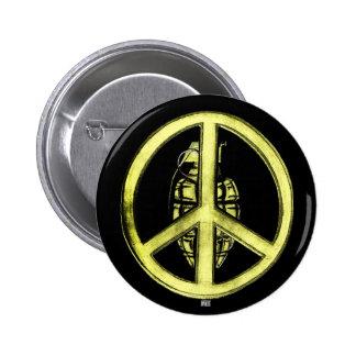 Paz y guerra (amarillo) pin redondo 5 cm