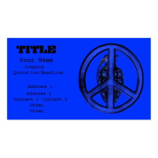 Paz y guerra azules tarjeta de negocio