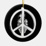 Paz y guerra (blancas) adorno de navidad
