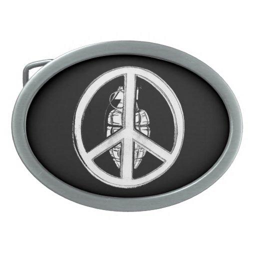 Paz y guerra (blancas) hebilla de cinturón oval