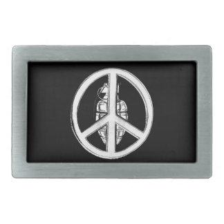 Paz y guerra (blancas) hebillas cinturon rectangulares