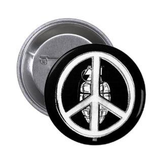 Paz y guerra (blancas) pin redondo 5 cm