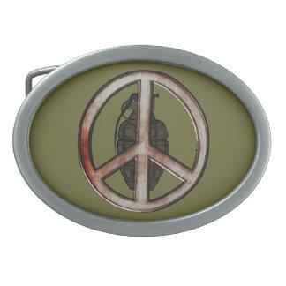 Paz y guerra hebilla de cinturon oval