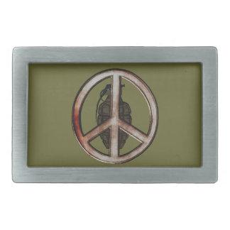 Paz y guerra hebilla de cinturon rectangular