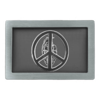Paz y guerra (negro) hebillas cinturón rectangulares