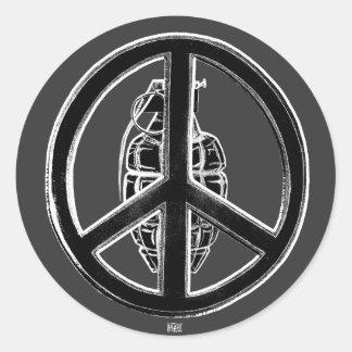 Paz y guerra (negro) pegatina redonda