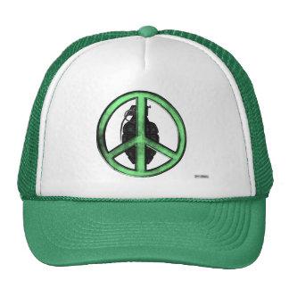 Paz y guerra (verde/gris del metal de arma) gorras de camionero