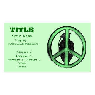 Paz y guerra verde gris del metal de arma plantilla de tarjeta de negocio