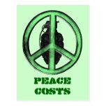 Paz y guerra (verde/gris del metal de arma) postales