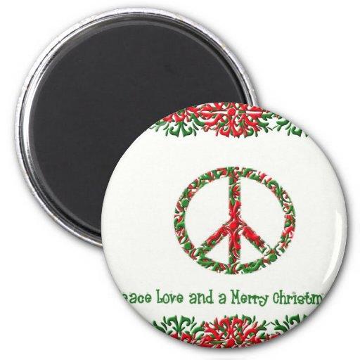 Paz y navidad imán redondo 5 cm