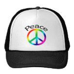 Paz y palabra del arco iris gorros bordados