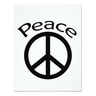 """Paz y palabra negras invitación 4.25"""" x 5.5"""""""