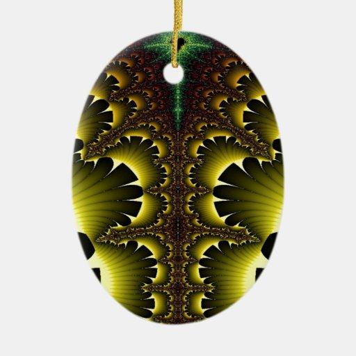 Paz y paraíso del bosque adorno ovalado de cerámica