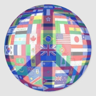 Paz y pegatina de las banderas del mundo
