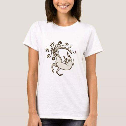 Pazyryk Deer Womens Dark Design T_Shirt