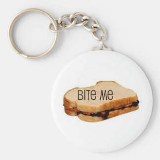 "PB&J ""BITE ME"" SANDWICH PRINT BASIC ROUND BUTTON KEYCHAIN"