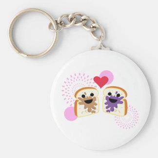 PB& J Love Basic Round Button Keychain