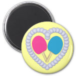 PB Ping Pong Paddle Heart 2 Inch Round Magnet