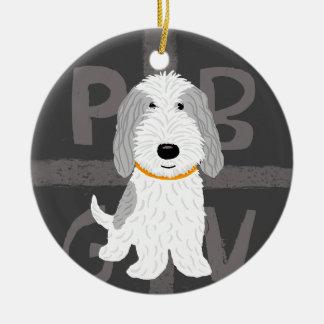 PBGV gris y blanco Adorno Navideño Redondo De Cerámica