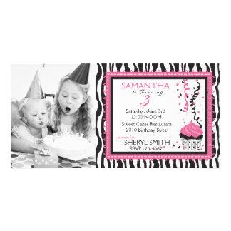 PC elegante de la invitación del cumpleaños del es Tarjeta Fotográfica Personalizada