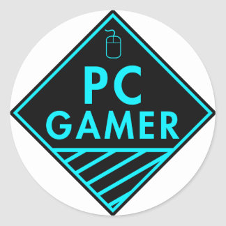 pc gaming (blue) classic round sticker