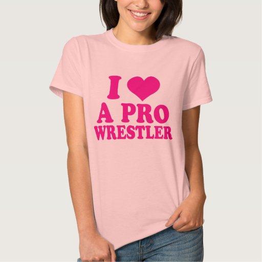 PC - I <3 un ProWrestler [rosa de las señoras] Playeras