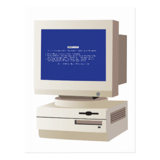 Pc with Blue Screen Postcard