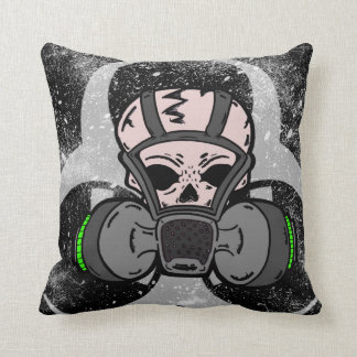PCD Design Skull /w Gas Mask Throw Pillow