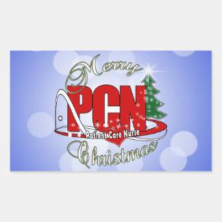 PCN CHRISTMAS Patient Care Nurse Rectangular Sticker