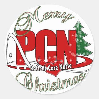 PCN CHRISTMAS Patient Care Nurse Round Stickers