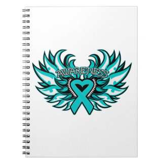 PCOS Awareness Heart Wings Spiral Note Book